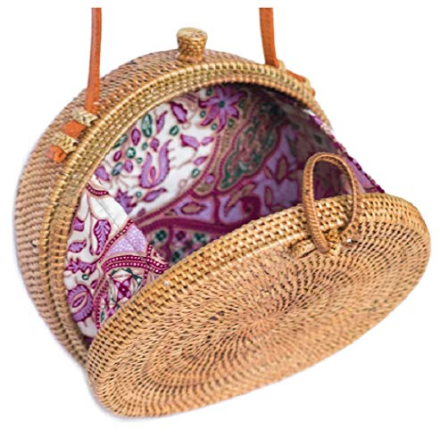 Bali Harvest Handwoven Round Woven Ata Rattan Bag Colorful Batik Linen Inside (with Genuine Leather Strap) (Brown Bow Clasp)