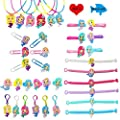 36 Pcs Mermaid Party Favors Supplies Necklaces Bracelets Keychains Rings Bookmarks Hairpins Kids Girls Birthday Mermaid Toys All Ages Parties Keys Bags Decoration