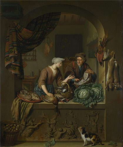 Polyster Canvas ,the High Definition Art Decorative Canvas Prints Of Oil Painting 'Willem Van Mieris A Woman And A Fish Pedlar In A Kitchen ', 18 X 21 Inch / (Female Jungle Themed Costume)