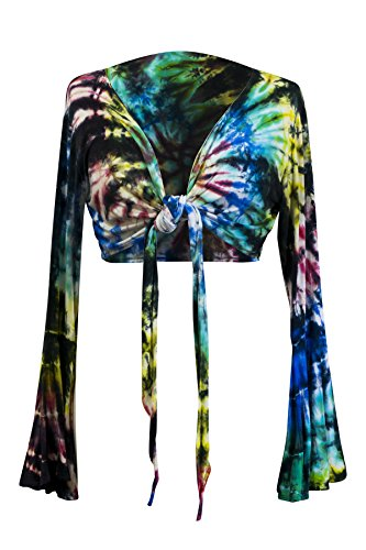 Tie Dye Crop Top Wrap Colourful Long Flare Sleeve Festival Hippie (Colourful Bright A) (Colourful Dark B)