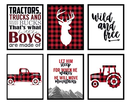 Silly Goose Gifts Buffalo Plaid Deer Tractor Truck Themed Children Wall Decor (Set of Six) Stag Hunting