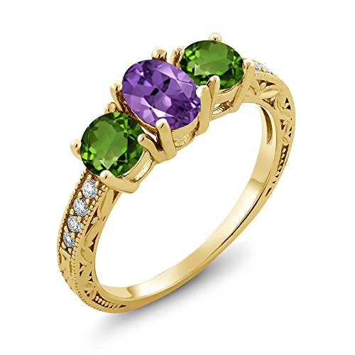 Gem Stone King 1.87 Ct Purple Amethyst Green Chrome Diopside 18K Yellow Gold Plated Silver Ring (Size 6)