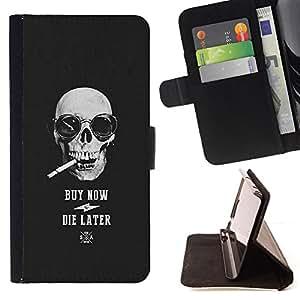 BullDog Case - FOR/Sony Xperia Z1 L39 / - / SMOKE CIGARETTE COOL BUY SKULL BLACK /- Monedero de cuero de la PU Llevar cubierta de la caja con el ID Credit Card Slots Flip funda de cuer