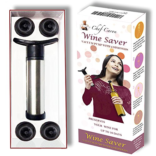 Wine Saver & Wine Preserver Kit by Chef Caron - Gift Set - Stainless Steel Wine Vacuum Pump & 4 Silicone Rubber Stoppers with Quick Release Button - Professional Opened-Bottle Wine Storage Solution… …