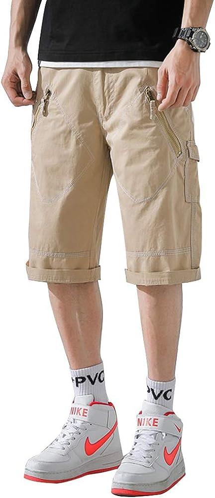 Fastkoala Mens Loose Fit Twill Cargo Short with Zipper Pockets Khaki