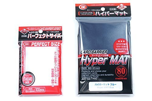 KMC Hyper Mat Sleeve Blue (80-Pack) + 100 Pochettes Card Barrier Perfect Size Soft Sleeves Value Set ! by KMC
