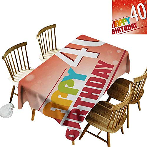 Mannwarehouse 40th Birthday Wrinkle Resistant Tablecloth Party Invitation in Vibrant Colored Retro Style and on Bokeh Effect Backdrop Excellent Durability W54 x L72 Multicolor]()