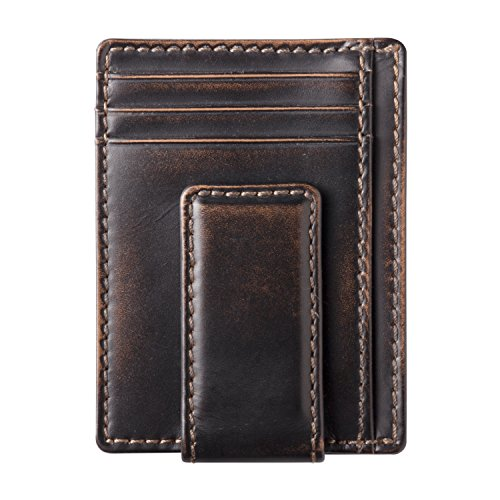 s Leather Money Clip Wallet-Strong Magnetic Front Pocket Wallet-Exterior ID Window (Black) (4 Exterior Pockets)