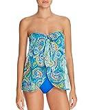 Ralph Lauren Lauren Women's Maldives Paisley Print Mesh Flyaway One-Piece Swimsuit (18W, Blue)