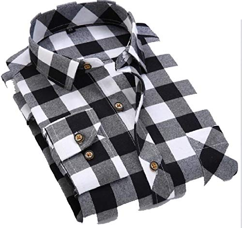 Sleeve Mens Button Up Dress Shirts Casual 2 Long Plaid Cotton Maweisong RI7dq7