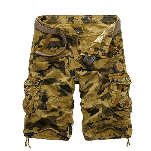 Tonwhar Men's Chino Twill Military Camo Shorts (30, khaki)