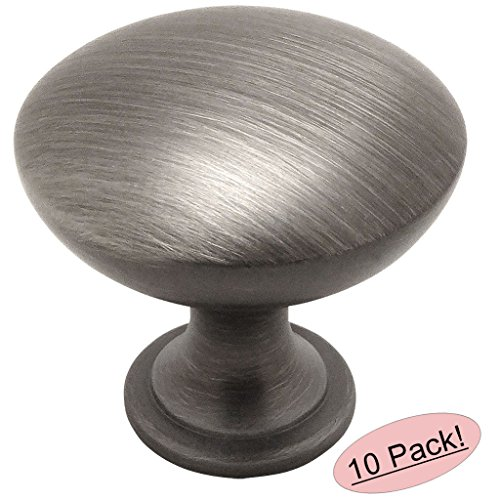 5/8 Inch Antique Silver Knob - 10 Pack - Cosmas 5305AS Antique Silver Traditional Round Solid Cabinet Hardware Knob - 1-1/4