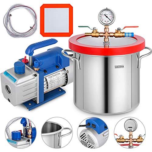 1 Pc Vacuum Chamber 2 Gallon and 3 Cfm Single Stage Pump to Degassing Silicone Pressure Pot for Resin Casting SABADIVA HVAC Vacuum Pump