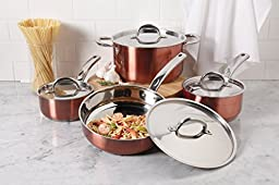 Oster Brookfield 8 Piece Cookware Set, Stainless Steel with Copper Color