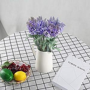 XYXCMOR Artificial Flowers 4 Bundle Lavender Plants Silk Flowers Arrangements Rustic Wedding Bouquet Decor for Vase Home Kitchen Garden Purple 2