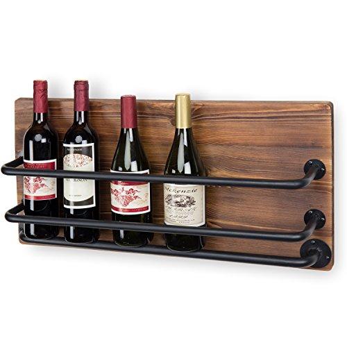 MyGift Wall-Mounted Industrial Rustic Wood & Black Metal Wine Rack by MyGift