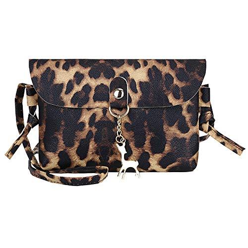 Womens Leather Crossbody Bag Leopard Print Shoulder Bags Messenger Bag Coin Bag