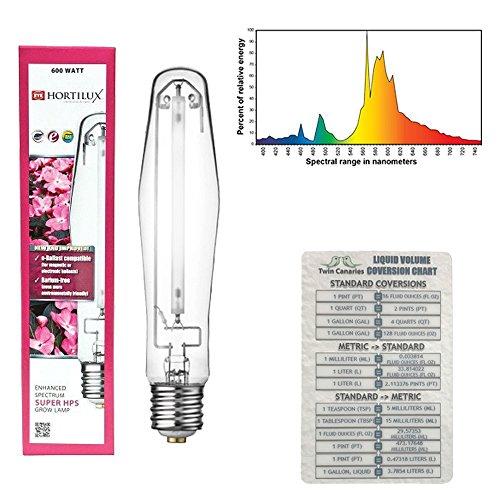 VARIOUS SIZES HORTILUX SUPER HPS ENHANCED SPECTRUM BULB LAMP WATT + TWIN CANARIES CHART - 600 w by Eye Hortilux
