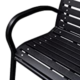 """Festnight 3-Seater Outdoor Patio Garden Bench Porch Chair Seat with Steel Frame Solid Construction 49"""" x 24"""" x"""