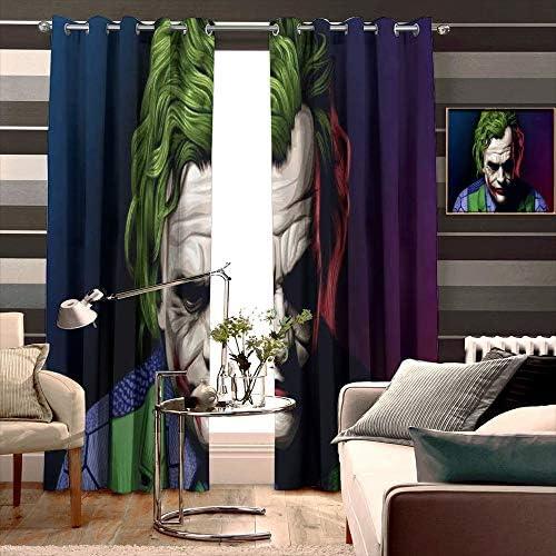 Loruoaine Curtain Joker Heath Ledger Illustration Pop for Kitchen Windows Width 274cm x HIGH 214cm