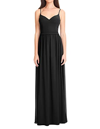Bridesmaid Dresses Party Prom Gowns Floor Length Chiffon A-line Spaghetti Straps Black US 2