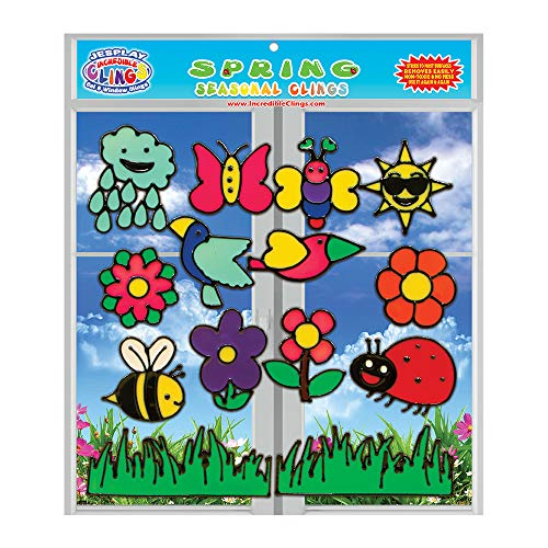 Spring Seasonal Gel Clings - Flexible Gel Glass Window Clings for Kids, Toddlers and Adults - Removable and Reusable Birds, Bees, Flowers, Sun, Rain, Home, Airplane, Classroom, Nursery Decoration