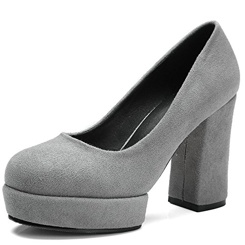 Thick Party Woman Heel Grey Square Shoes Pumps Heel High Flock Shoes AIWEIYi Platform wtR6qvq