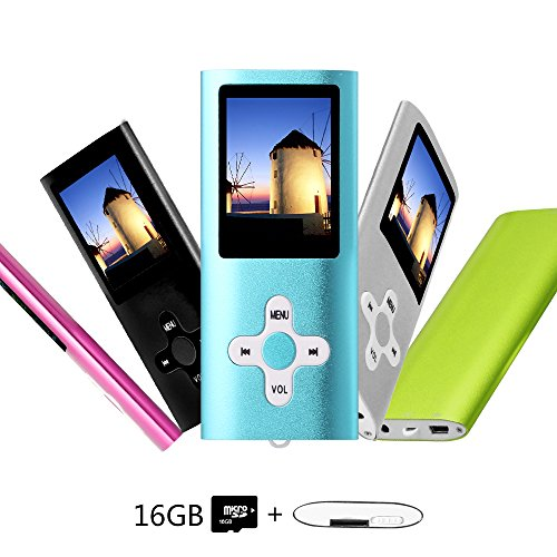 Btopllc MP3-Player, MP4-Player, Musik-Player, tragbarer 1,7-Zoll-LCD-MP3 / MP4-Player, Media Player 16 GB-Karte, Mini-USB-Port USB-Kabel, Voice Recorder Media Player - Blau