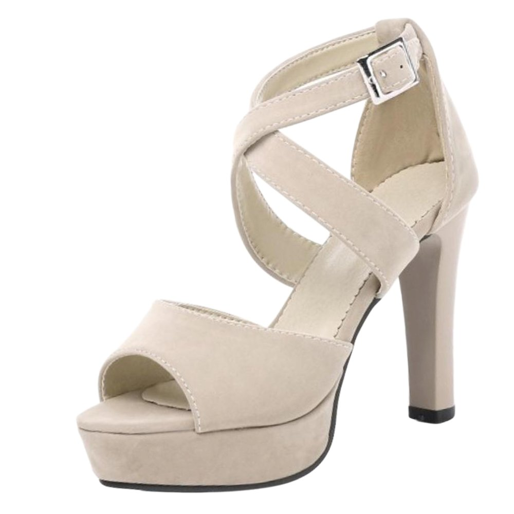 TAOFFEN Women Sandals High Heel Sandals Women Platform B07CPM375H 2 US = 21.5 CM apricot 0c1a49