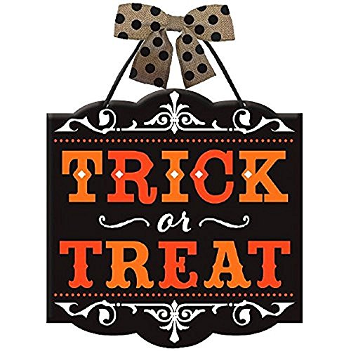 New Age Scare Halloween Party Trick or Treat Hanging Sign Decoration, Board, 12