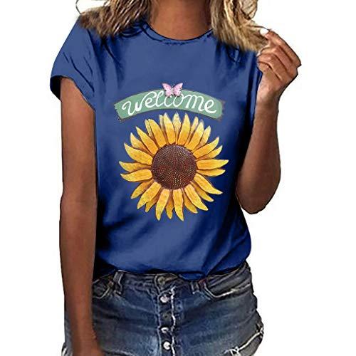 Women T-Shirt Casual Summer Short Sleeve Tee Sunflower Print Loose Fit Blouse Tops (XL, Blue 4)