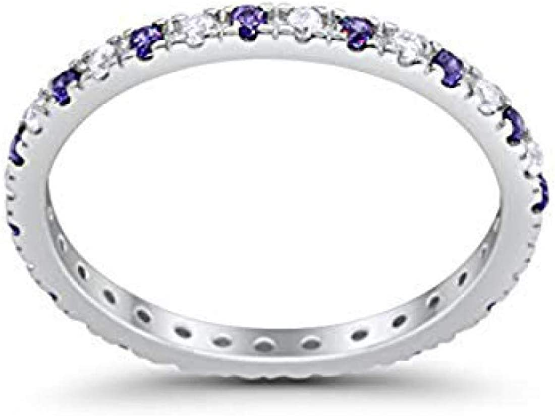 Blue Apple Co. 2mm Full Eternity Wedding Band Art Deco Design Round Simulated Cubic Zirconia 925 Sterling Silver