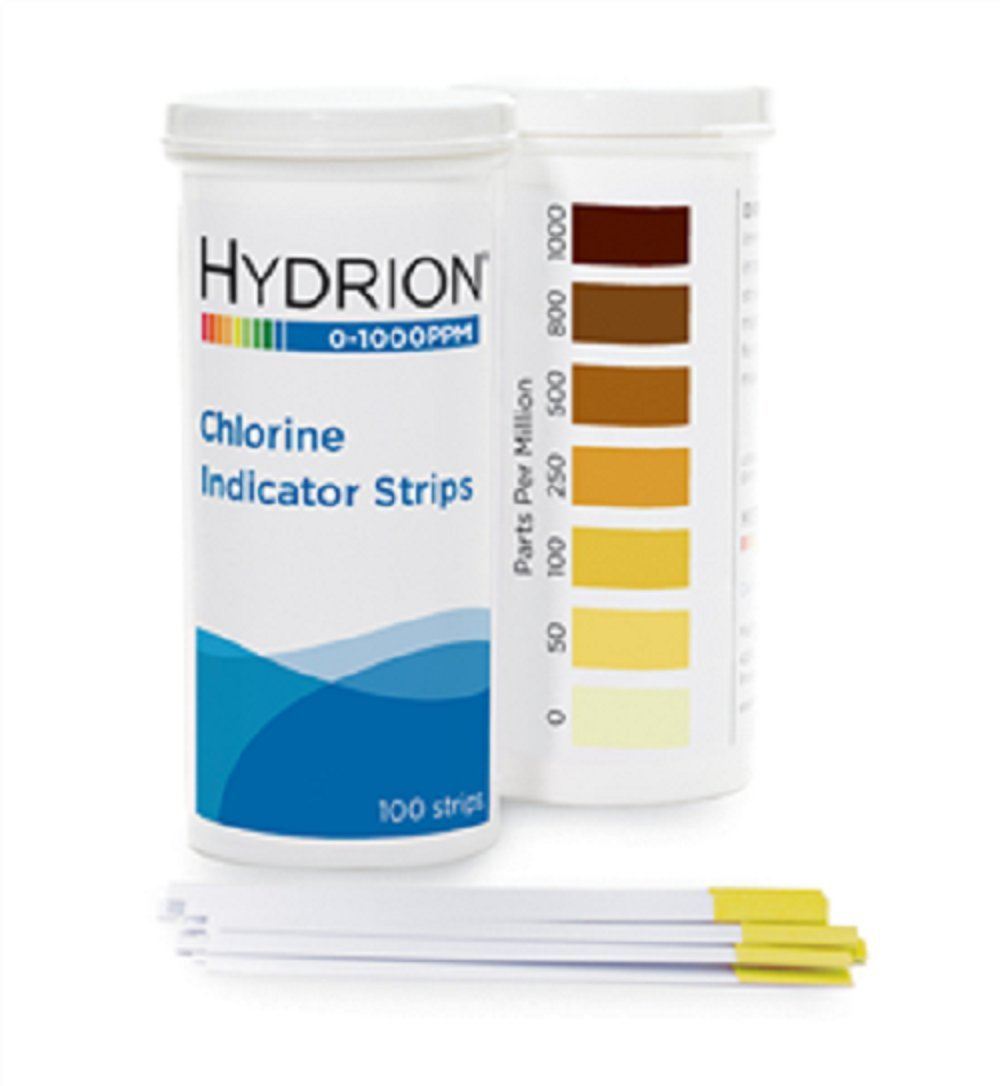 Professional Hydrion Chlorine Test Strips CH-1000, Range 0-1000 100 strips