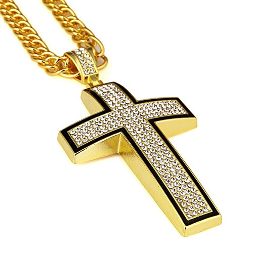 Hip Hop Costume For Guys (Cross Necklace for Men 18k Real Gold Diamond Pendant Hip Hop Chain)
