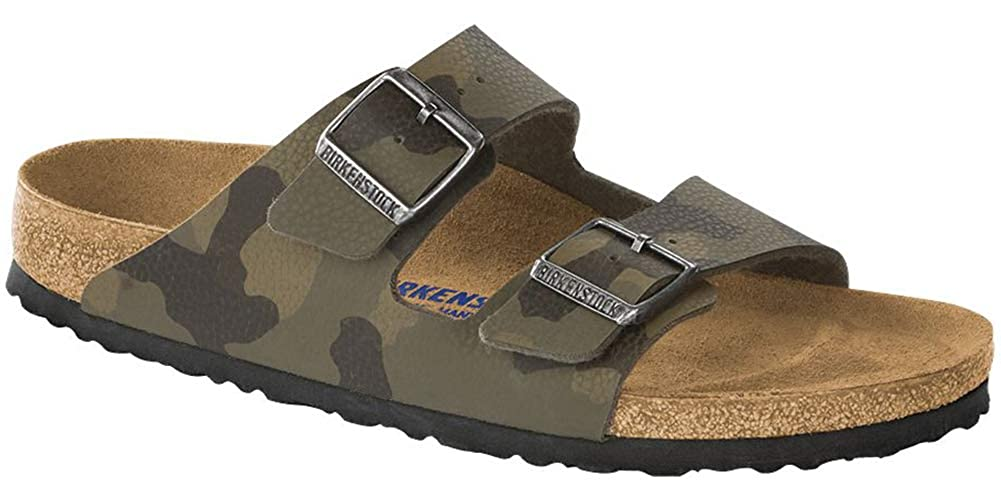 Birkenstock Women's Arizona Soft Footbed Sandal Camo Brown Birko Flor Size 40 M EU