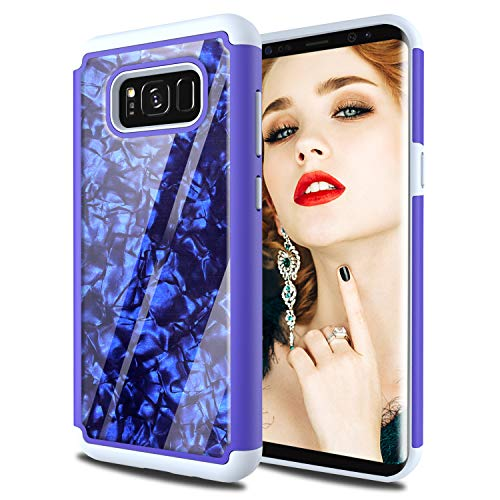 Phone Case Galaxy s8 Plus Shell Cases Glitter w/Screen Protector,HenSun Soft Silicon TPU Gel Hard Back Hybrid Shock Absorption Protective Cases for Girls Women Samsung s8 Plus Blue Grey