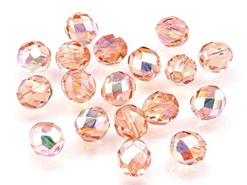 30 pcs Czech Fire Polished Glass Beads 6 mm Round Rosaline PINK - Glass Gablonz