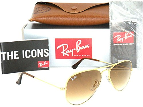 Ray-Ban Aviator 3025 RB 3025 001/51 58mm Gold Frame with Brown Gradient - And Ban Brown Gold Ray Aviators