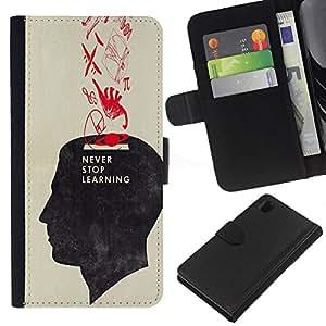 Be-Star la tarjeta de Crédito Slots PU Funda de cuero Monedero caso cubierta de piel Para Sony Xperia Z1 L39 ( Never Stop Learning School Teacher )