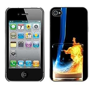 // PHONE CASE GIFT // Duro Estuche protector PC Cáscara Plástico Carcasa Funda Hard Protective Case for iPhone 4 / 4S / Fuego y Agua Cóctel /