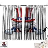 Jinguizi 4th of July Curtain for Bedroom Uncle Sam Hat Wearing Cat with Stars and Stripes American Patriotic Symbols Background Darkening Curtains Multicolor W55 x L39