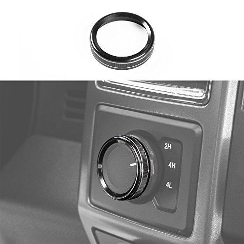 Voodonala Aluminum Alloy Car Inner 4WD Switch Trim Button Knob Ring Cover Ford F150 XLT 2016 2017 (Black)