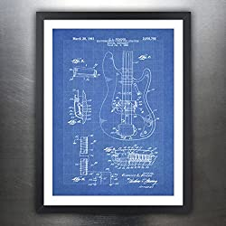 FENDER PRECISION BASS GUITAR POSTER Blueprint 1961 US Patent Print 18x24 Poster Vintage Reproduction Gift Unframed