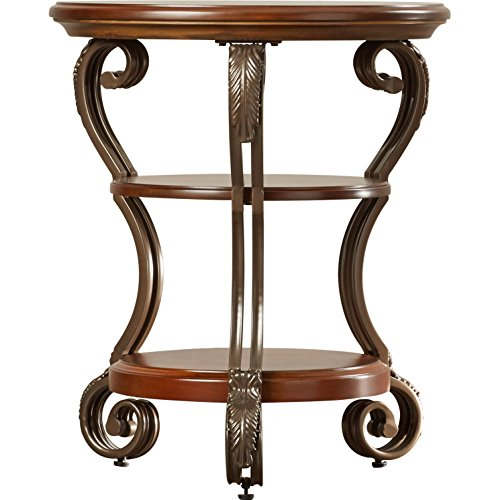 Traditional Classics Style Curran Chairside Table with 2 Shelves Round Shape in Medium Brown Finish Made of Manufactured Wood 26.25'' H x 22'' W x 22'' D