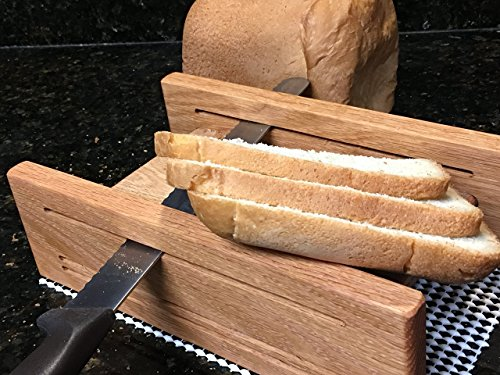 5 1/2 inch Wide Oak Horizontal Three Thickness Bread Slicing Guide with Anti Slip Mat Hand Crafted by Mystery Lathe Protective Oil Finish Applied