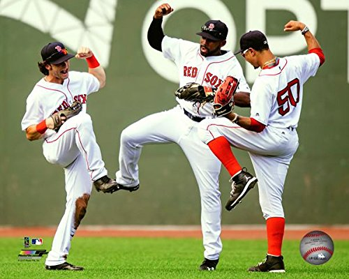 "Andrew Benintendi Jackie Bradley Jr. Mookie Betts 2017 Action Photo (Size: 8"" x 10"")"
