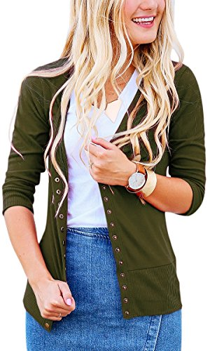 NENONA Women's V-Neck Snap Button Cardigan 3/4 Sleeve Soft Basic Knitwears Casual Sweater(Army Green-S) (3/4 V-neck Cardigan Sleeve)