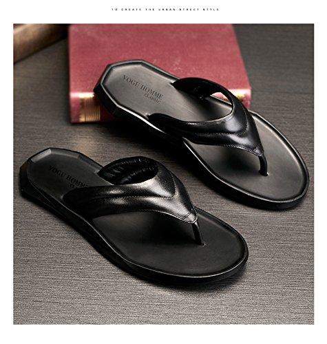 Happyshop(TM) Mens Real Leather Flip-flops Sandals Leisure Anti-slip Slipper Fashion Flip-flops Black ytqLLMr