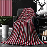 Unique Custom Double Sides Print Flannel Blankets Novelty French Cafe Restaurant Tent Inspired Image With Stripes Print Hot Pink Sky Super Soft Blanketry for Bed Couch, Throw Blanket 40 x 60 Inches