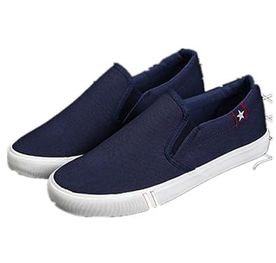 Weifei - Mocasines de Lona para Hombre Blanco Blanco 41 EU: Amazon.es: Zapatos y complementos
